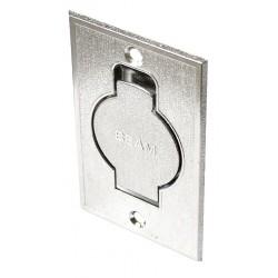 Gniazdo podłogowe metalowe srebrne